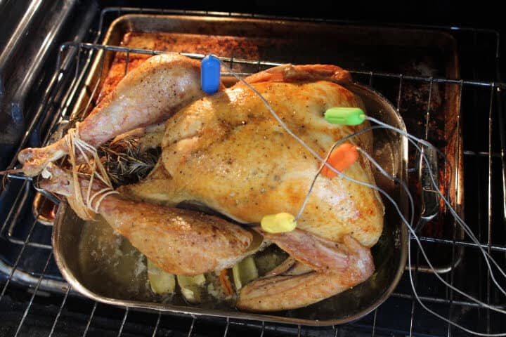 Monitoring the temperature of both turkey breasts and thighs with the multi-probe Tenergy Solis Digital Meat Thermometer