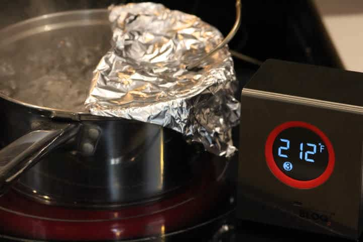 Calibrating a meat thermometer in boiling water