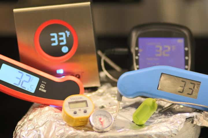 Calibrating multiple meat thermometers in ice