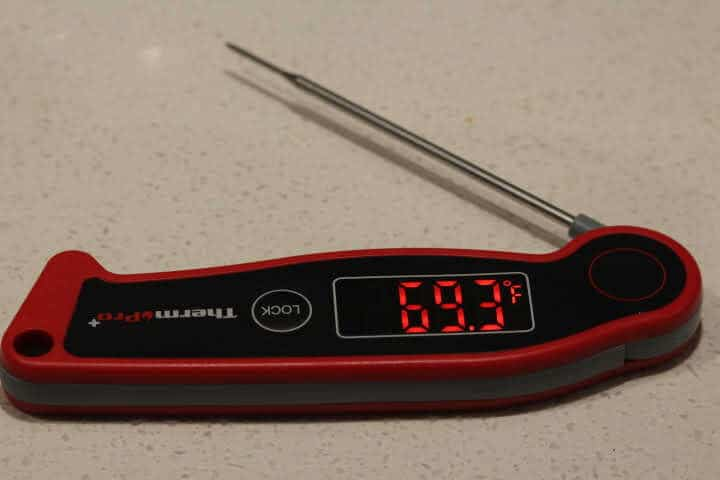 ThermoPro TP-19 Meat Thermometer showing off its impressive 180 degree display