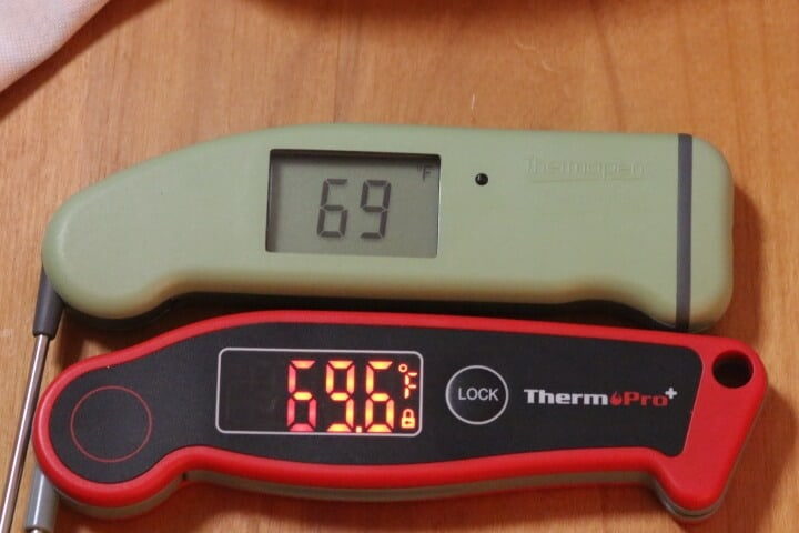 The Thermapen MK4 and the ThermoPro TP-19 digital meat thermometers