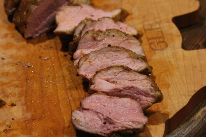 Pork Tenderloin cooked to 145 degrees Fahrenheit sliced