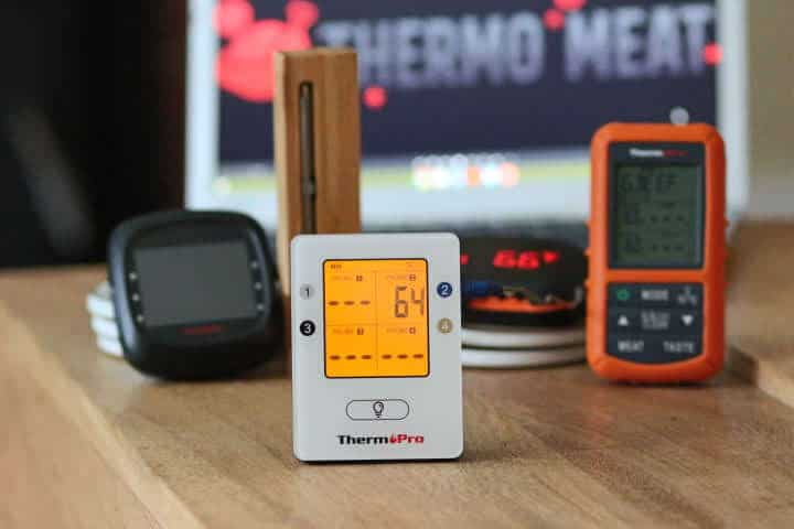 ThermoPro TP25 thermometer along with the Tenergy Solis,MEATER+, InkBird IBT-4XS, and ThermoPro TP-20 meat thermometers