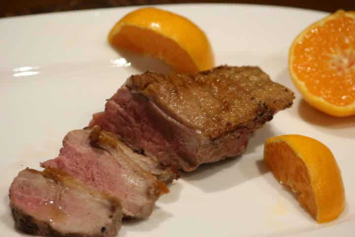 Medium to medium-rare duck breast
