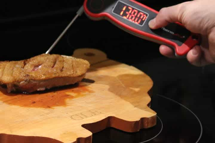 Duck Breast reading 138 degrees Fahrenheit on the ThermoPro TP-19 Instant Read Meat Thermometer