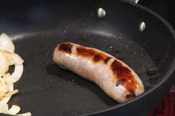 Bratwurst in a skillet
