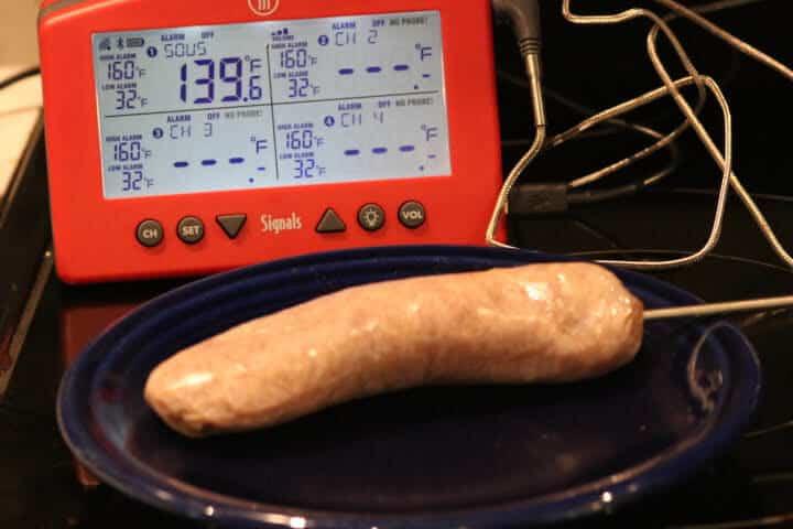 A pork sausage measuring 139 degrees Fahrenheit