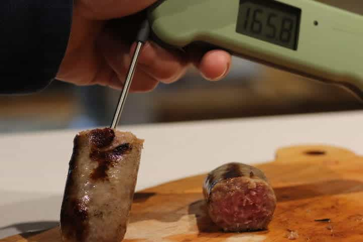 Pork Sausage reading 165 degrees after simmering and grilling