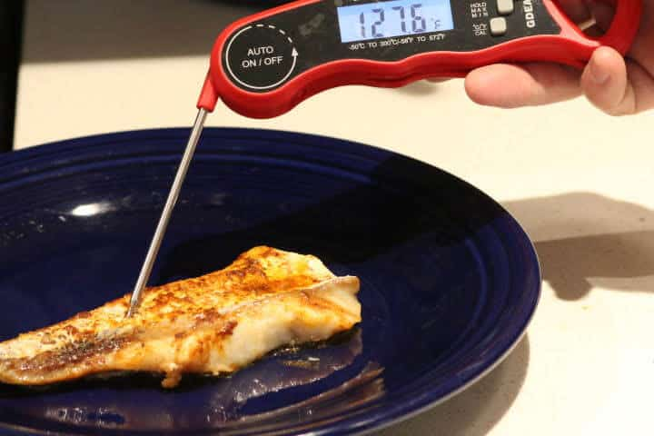 Frozen cod cooked to an internal temperature of 127 degrees Fahrenheit