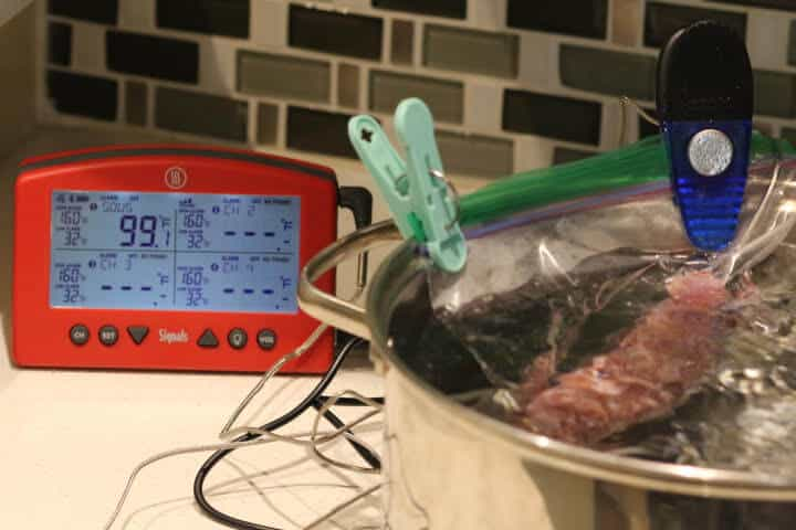 Cooking pork sausage in a sous vide water bath