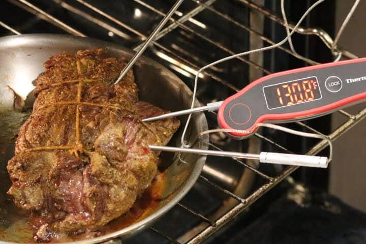 Leg of lamb with an internal temperature of 130 degrees Fahrenheit