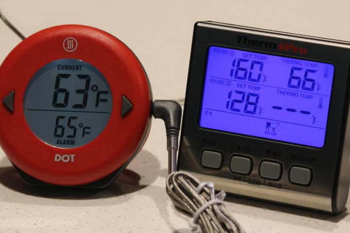 The Thermoworks thermometer and the ThermoPro TP-17 Oven Meat thermometer