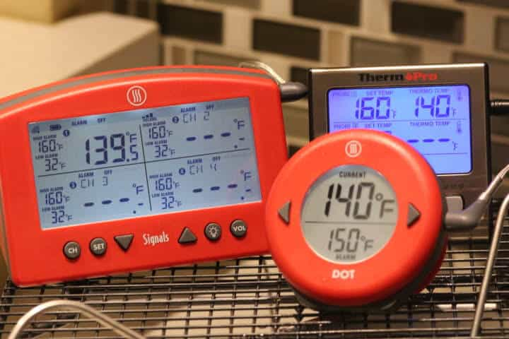 The Thermoworks DOT, Signals and the ThermoPro TP-17 measuring a 140 degree water bath.