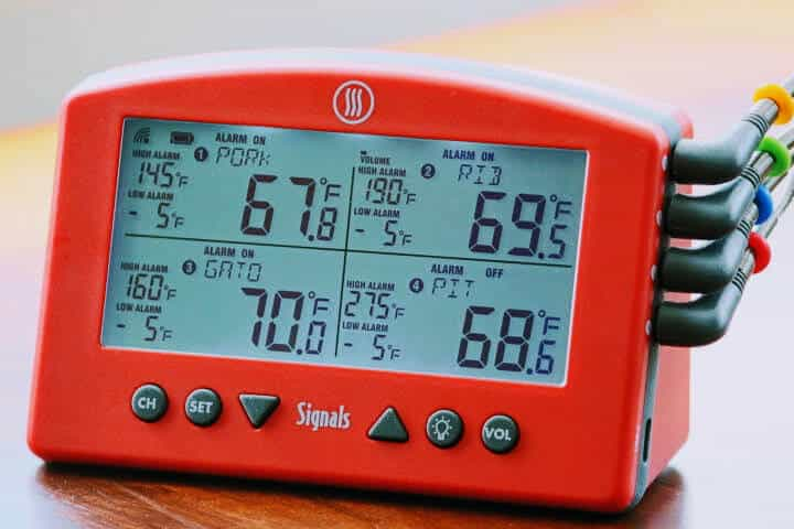 The Thermoworks Signals WiFi Meat Thermometer displaying 4 separate temperatures on its display screen