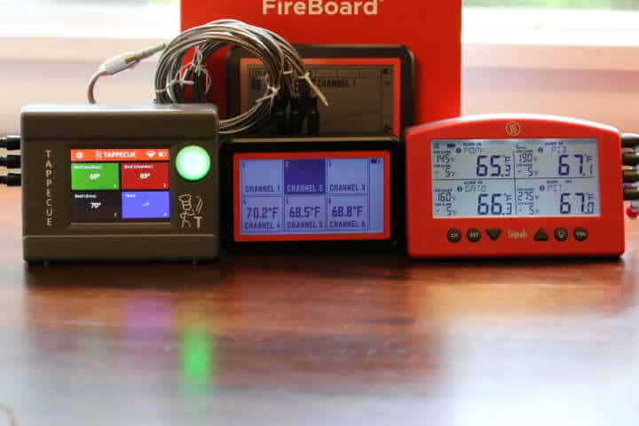 Front shot of the Tappecue Touch on the left, the Fireboard 2 Drive in the middle and the Thermoworks Signal on the left.