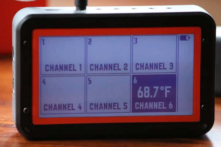 Showing all 6 channels on the Fireboard 2 display