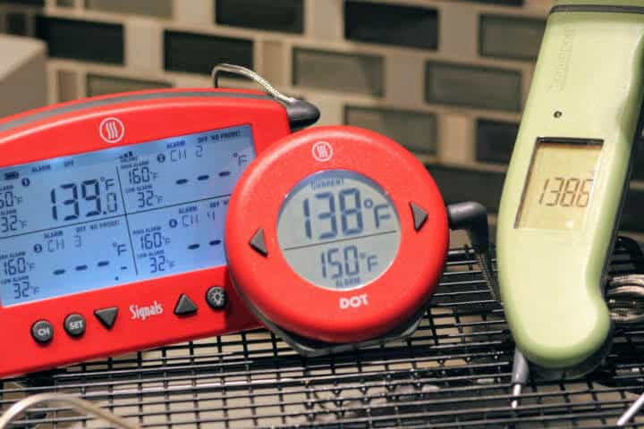 Thermworks Signals and the Thermoworks DOT with the MK4 in a 140 degree water bath.