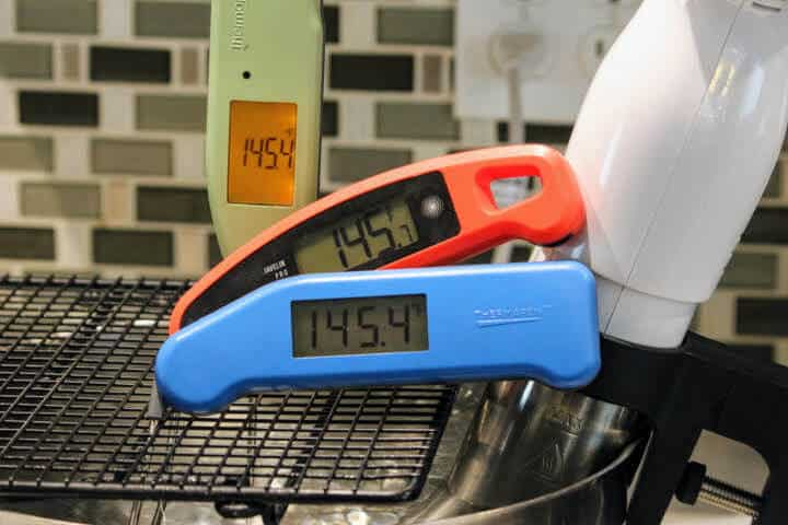 The MK4, the Javelin PRO Duo, and the Classic Thermapen in a sous vide water bath.