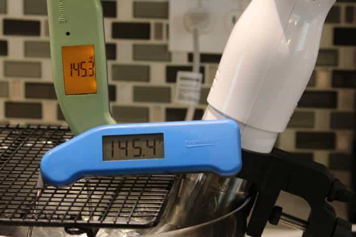The Super-Fast Classic Thermapen and the Thermapen MK4 measuring sous vide water temperature.