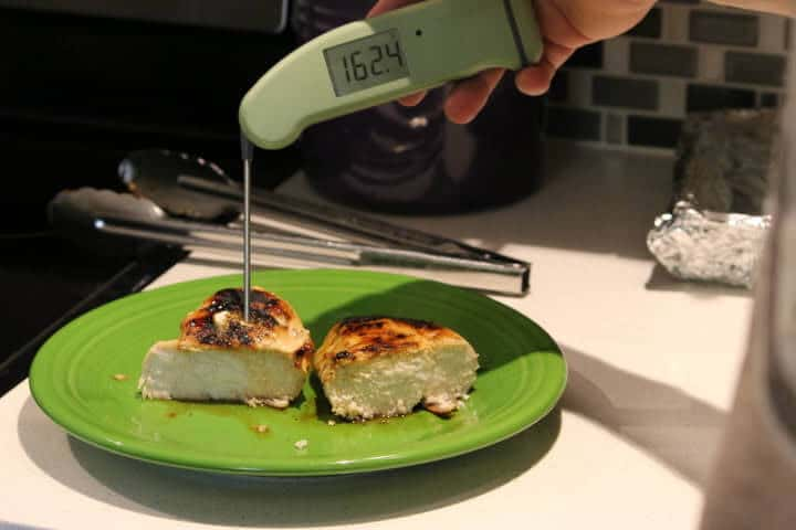 The same chicken breast from the above picture measuring 162 degrees Fahrenheit with a meat thermometer.