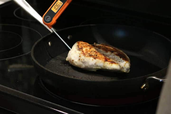 The thick part of a chicken breast measuring 106 degrees.