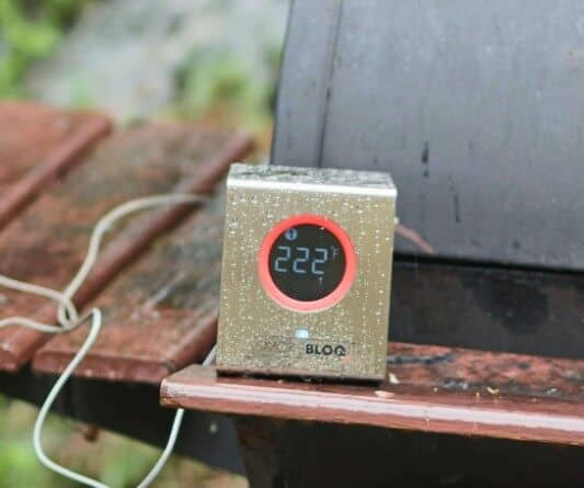 The SmokeBloq Meat Thermometer in the rain