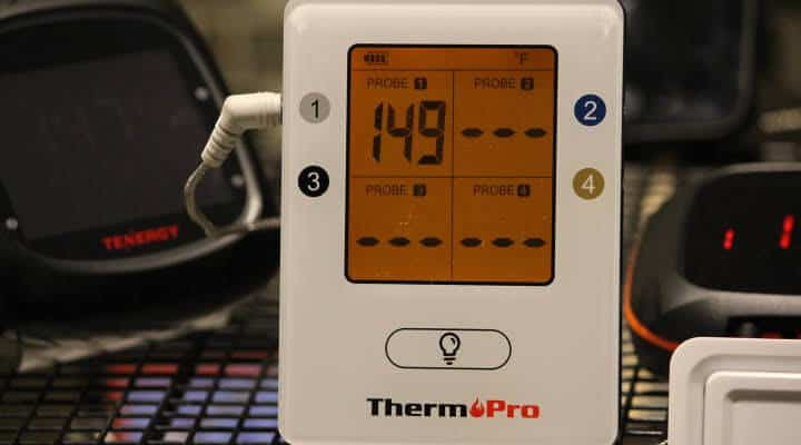 The ThermoPro TP-25 Bluetooth Meat Thermometer displaying 149 degrees Fahrenheit.
