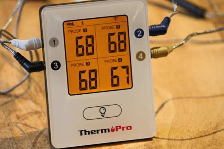 Displaying the color-coordinated temperature probes with their corresponding ports on the ThermoPro TP-25 Bluetooth Thermometer