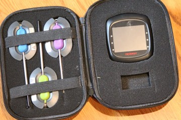 The Tenergy Solis Bluetooth Meat Thermometer in its storage case.