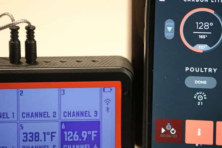 Lavatools Carbon Lite app displaying 128 degrees Fahrenheit