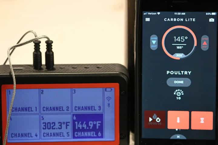 Lavatools Carbon Lite app displaying 145 degrees Fahrenheit
