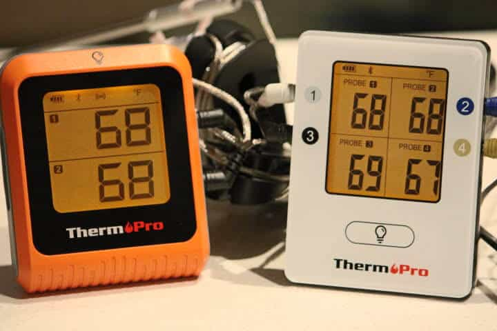 The ThermoPro TP-25H2 Bluetooth thermometer on the left and the ThermoPro TP25 Bluetooth thermometer on the right.