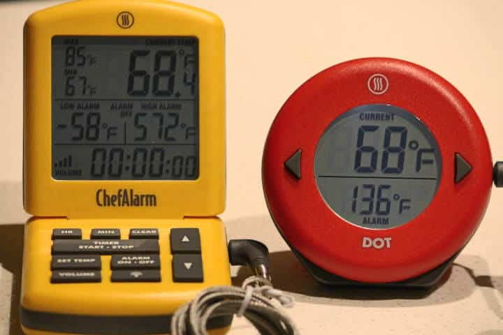 The Thermoworks ChefAlarm on the left and the Thermoworks DOT on the right