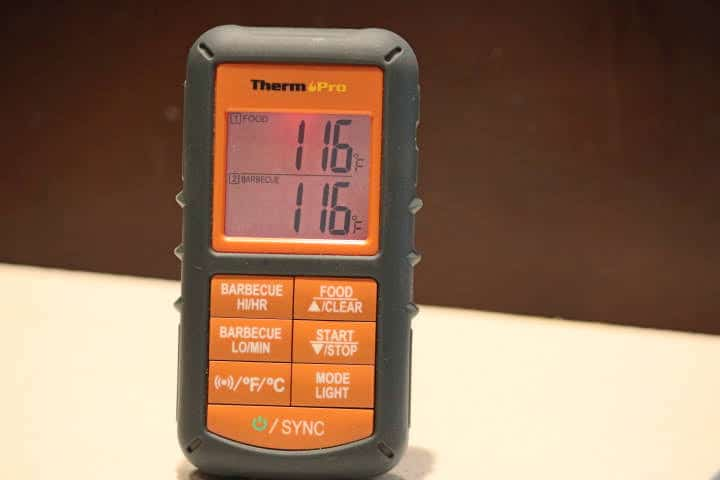 The receiver unit of the ThermoPro TP08S Remote meat thermometer