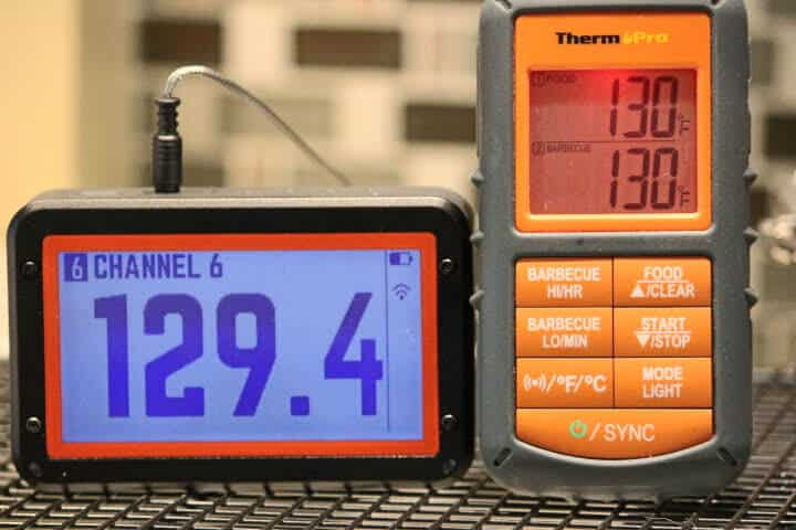 ThermoPro TP08S and the Fireboard 2 Drive meat thermometers registering similar temperatures