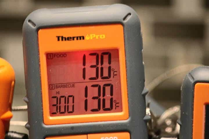 The two dedicated screen sections of the ThermoPro TP08S meat thermometer, the top part is for food, the bottom for barbecue