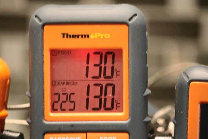 Displaying the low temperature alarm setting of 225 degrees Fahrenheit on the ThermoPro TP08S remote meat thermometer