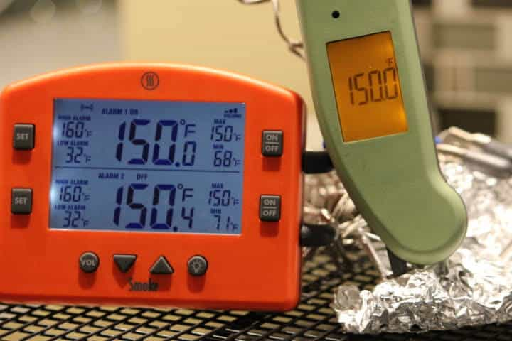 Thermoworks Smoke and the Thermapen MK4 registering 150 degrees Fahrenheit