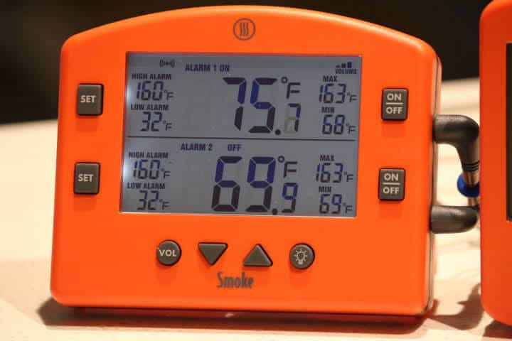 Closeup image of the display of the Thermoworks Smoke Meat Thermometer