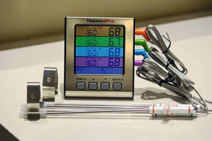 Displaying the four different color-coated probes and their corresponding ports and screen sections on the ThermoPro TP17H thermometer