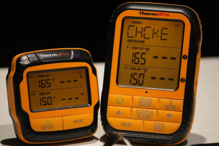 ThermoPro TP28 Remote Wireless Meat Thermometer Transmitter and Receiver with the Chicken Preset Temperature on their display screens