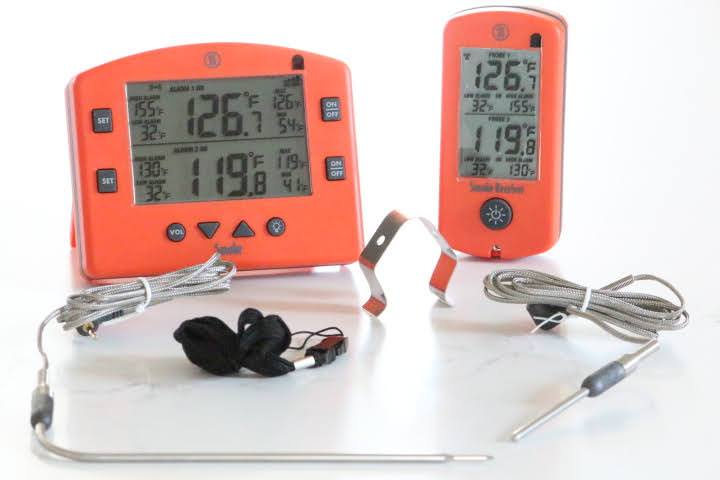 The Thermoworks Smoke Remote meat thermometer comes with two thermoworks probes, a grate clip and a lanyard