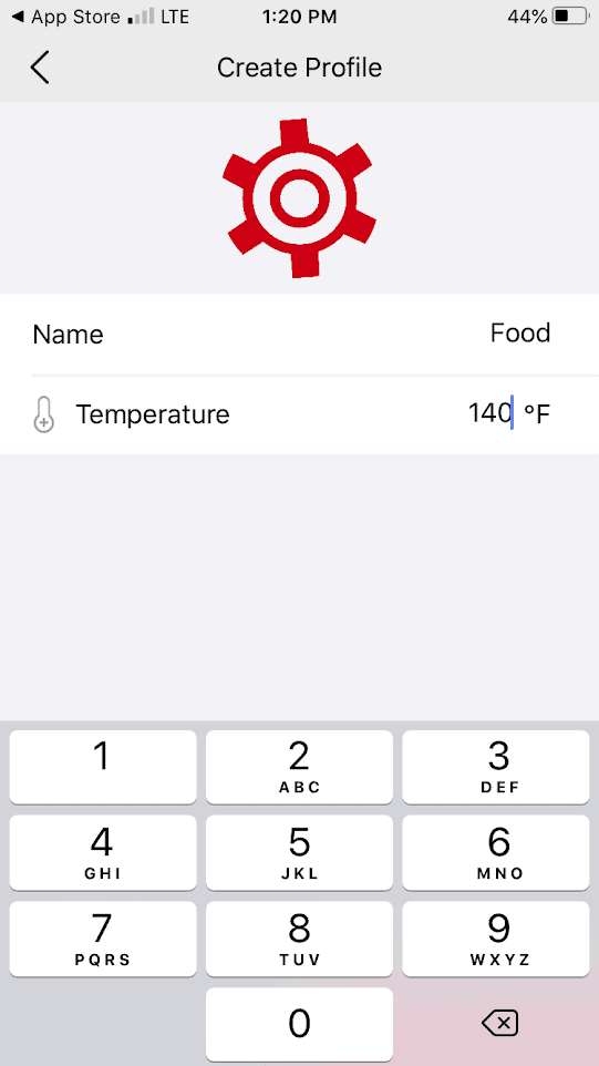 The temperature edit screen in the ThermoPro BBQ app