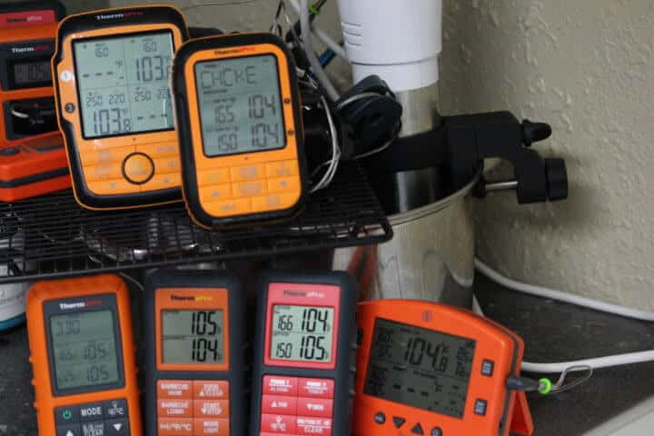 Clockwise from the top: The ThermoPro TP27, ThermoPro TP28, Thermoworks Smoke, ThermoPro TP08B, ThermoPro TP08S, ThermoPro TP20 Remote Meat Thermometers