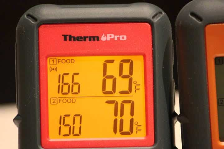 The display screen of the ThermoPro TP08B with both screen sections on the Food setting