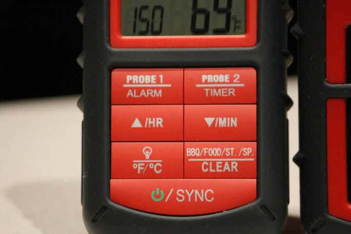 Closeup image of the buttons on the front of the ThermoPro TP08B Receiver