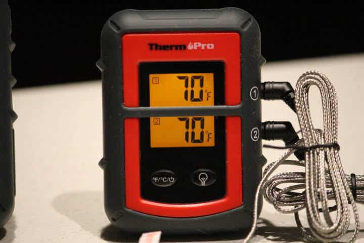 The transmitter of the ThermoPro TP08 with its dual screen display