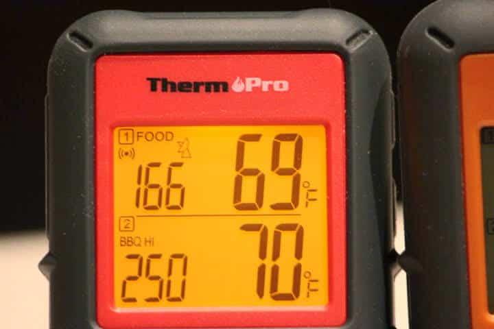 ThermoPro TP08B displaying the high bbq alarm