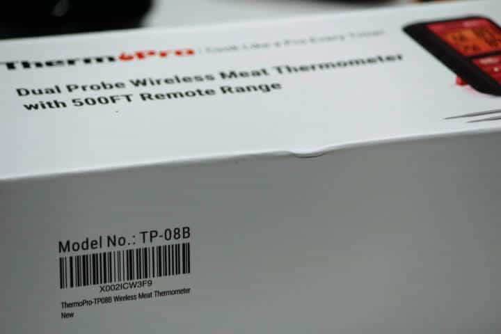 The side of the box of the ThermoPro Dual Probe Wireless Meat Thermometer with 500FT Remote Range reveals a model number of TP-08B.