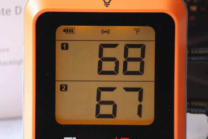 Closeup image of the display screen of the ThermoPro TP-25H2 Bluetooth Thermometer